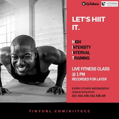 Live HIIT Fitness classes every other Wednesday at 1pm at tinyurl.com/hiitgcc